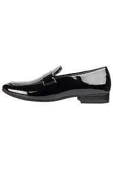 Black Classic Patent Loafer Shoes by Harper Woods