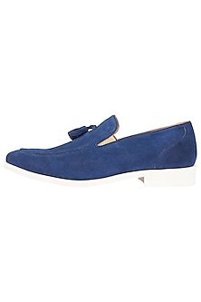Royal Blue Printed Loafer Shoes by Harper Woods