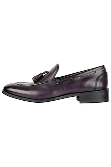 Purple Hand Painted Tasseled Loafer Shoes by Harper Woods