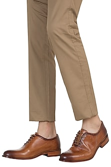 Brown Single Cut Oxford Hand Painted Shoes