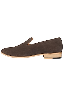 Chocolate Suede Loafer Shoes by Harper Woods