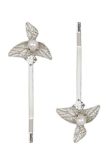 Set Of 2 Silver Leaf and Pearl Hair Pins by Hair Drama Company
