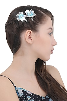 Set Of 2 Blue and Silver Flower Motif Hair Pins
