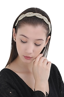 Gold and White Beads Embellished Head Wrap by Hair Drama Company