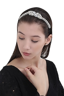 Silver Floral Diamante Stones Embellished Head Wrap