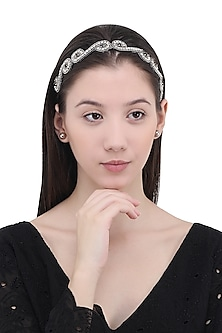 Black and Silver Beads Embellished Head Wrap