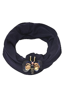 Navy Blue Bug Motif Turban Head Wrap by Hair Drama Company