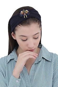 Navy Blue Bug Motif Turban Head Wrap