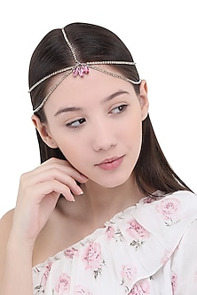 Pink Stones Embellished Multi Strand Marque Head Chain