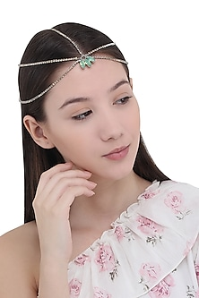 Green Stones Embellished Multi Strand Marque Head Chain