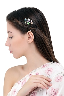 Set Of 3 Floral Motif Hair Pins