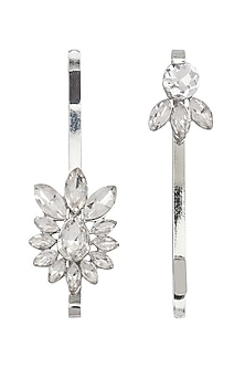Set Of 2 Floral Diamante Stones Embellished Hair Pins by Hair Drama Company