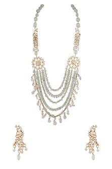 Gold Finish Fluorite Shehzaadi Mala Necklace Set by HEMA KHASTURI LABEL