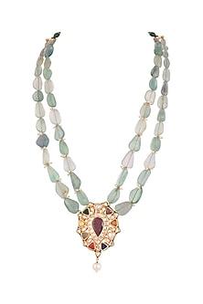 Gold Finish Fluorite & Navratna Stone Mala Necklace by HEMA KHASTURI LABEL