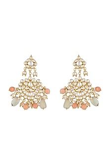 Gold Finish Fluorite & Coral Onyx Drop Chandbali Earrings by HEMA KHASTURI LABEL