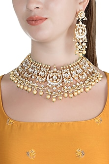 Gold Finish Kundan & Pearl Stone Bridal Shehzadi Necklace Set by HEMA KHASTURI LABEL