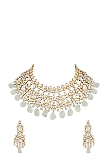 Gold Finish Fluorite Drop Shehzadi Necklace Set by HEMA KHASTURI LABEL