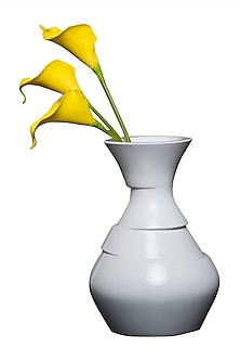 White Twist Teakwood & Lacquer  Handcrafted Vase  by H2H