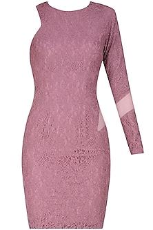 Purple one shoulder lace dress by Hema Kaul