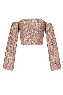 Beige off shoulder lace crop top by Hema Kaul