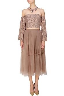 Beige tutu tulle lace skirt by Hema Kaul