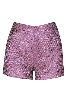 Purple french jacquard shorts