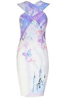 Cross over front digital print fairy tale dress