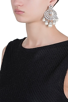 Rhodium plated diamond and pearl chandbali earrings