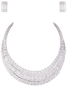Rhodium plated 3 line baguette diamond necklace set by HEMA KHASTURI LABEL