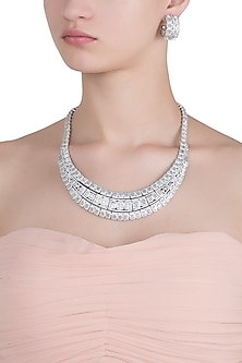 Rhodium plated 3 line baguette diamond necklace set