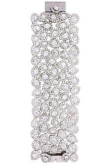 Rhodium plated party wear faceted diamond bracelet by HEMA KHASTURI LABEL