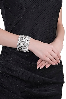 Rhodium plated party wear faceted diamond bracelet