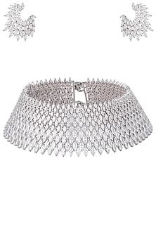 Rhodium plated bridal diamond choker necklace set by HEMA KHASTURI LABEL