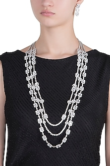 Rhodium plated 3 line baguette diamond and crystal necklace set