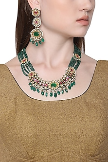 Gold Plated Kundan and Green Stone Drops Necklace with Tiered Earrings