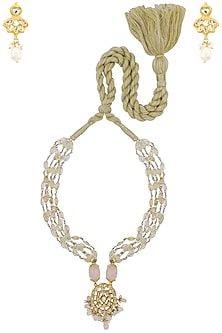 Gold Plated Kundan and Baby Pink Stones Long Necklace with Earrings by HEMA KHASTURI LABEL