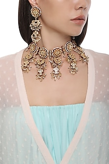 Gold Plated Kundan and Red Meena Necklace with Earrings