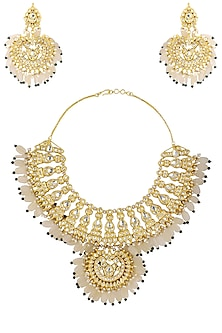 Gold Plated Kundan and White Stones Choker Necklace with Earrings by HEMA KHASTURI LABEL