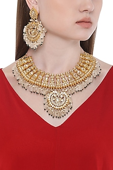 Gold Plated Kundan and White Stones Choker Necklace with Earrings