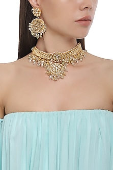 Gold Plated Kundan Stones Choker Necklace with Earrings