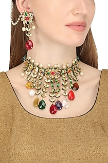 Gold Plated Multi-Coloured Stone Drops Necklace with Earrings by HEMA KHASTURI LABEL
