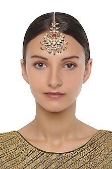 Gold Plated Kundan and Multi-Coloured Stones Maangtika by HEMA KHASTURI LABEL