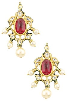 Gold Plated Kundan, Red Stone and Pearls Earrings by HEMA KHASTURI LABEL