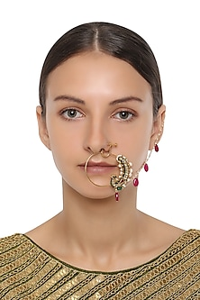 Gold Plated Kundan and Pearls Nose Ring by HEMA KHASTURI LABEL