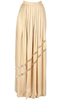 Beige Pleated Maxi Skirt by Huemn