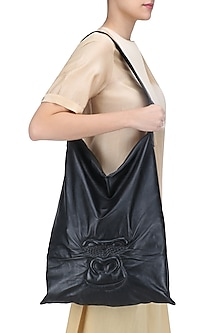 Black Handcrafted Gorilla Face Leather Boho Bag