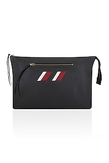 Black Two Tone Logo Embroidered Leather Clutch by Huemn