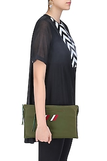 Moss Green Logo Embroidered Leather Clutch