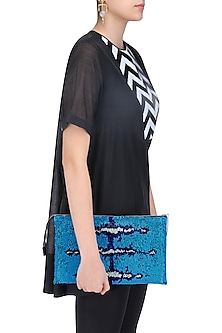 Blue and White Sequinned Leather Clutch by Huemn