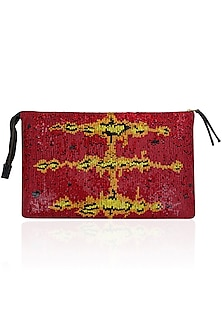 Red and Yellow Sequinned Leather Clutch by Huemn